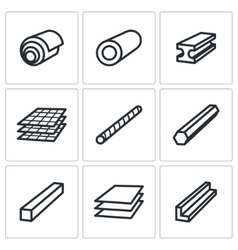 Metallurgy products icons set vector image