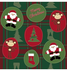 Monkey Merry Christmas vector image