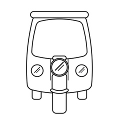 Motor rickshaw transport tricycle outline vector