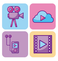 multimedia set icons technology network and vector image