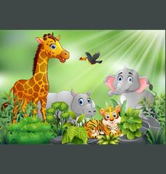 Nature scene with animals cartoon vector