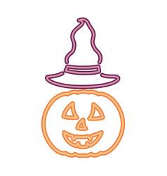 neon light pumpkin with hat halloween vector image