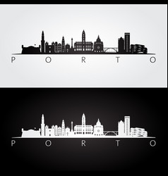 porto skyline and landmarks silhouette vector image