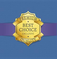 premium quality golden label certificate design vector image