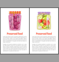 Preserved food meal posters vector