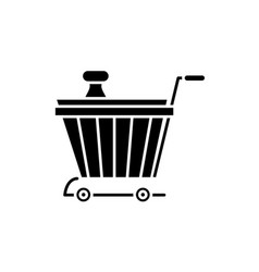 product basket black icon sign on isolated vector image