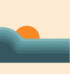Retro abstract sunset landscape 70s style mid cen vector