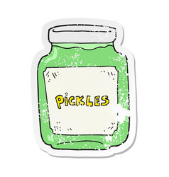 Retro distressed sticker of a cartoon pickle jar vector