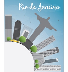 Rio de Janeiro skyline with grey buildings vector image