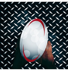 Rugby ball and hands over metal vector image