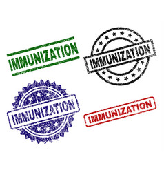 Scratched textured immunization stamp seals vector