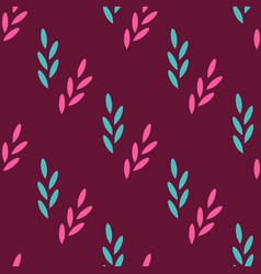 seamless pattern of abstract plants on a red vector image