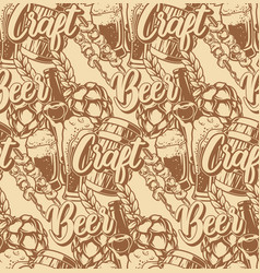 seamless pattern with beer elements vector image