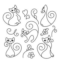 Set cute cartoon cats curls lines vector