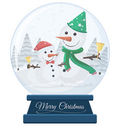 snowmen in snow globe merry christmas vector image