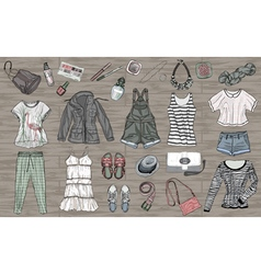 spring and summer fashion collection of clothes an vector image