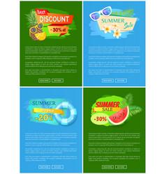 Summer discount summertime set lifebuoy vector