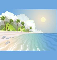 summer paradise beach and palm trees at seashore vector image