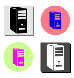 system unit of a computer flat icon vector image