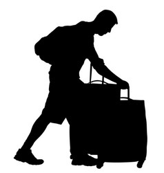 tourist man traveler carrying suitcase silhouette vector image
