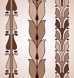 Vintage decorative set brown floral pattern vector image