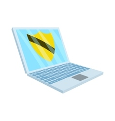 Virus protection on the laptop icon cartoon style vector image