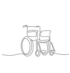 Wheelchair for invalid continuous one line vector