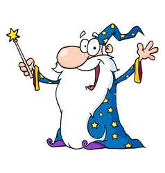 Wizard in a star robe holding up his wand vector