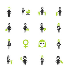 woman icon set vector image