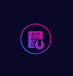 zip archive file icon vector image