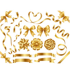 a set of gold ribbons vector image vector image