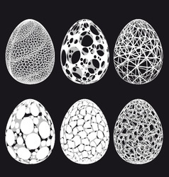 Abstract 3D Easter eggs set vector image vector image