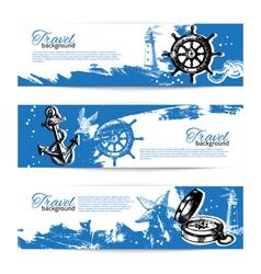 Banner set of travel vintage backgrounds vector image vector image