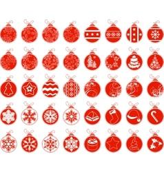 Big set with contour stylized Christmas balls vector image vector image