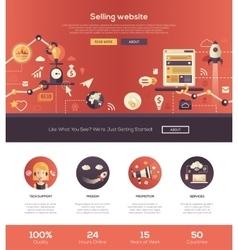 Flat design selling website header banner with vector image vector image