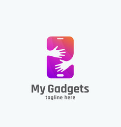 my gadgets abstract sign emblem or logo vector image vector image