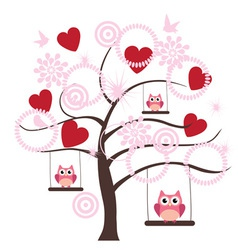 tree heart owl vector image vector image