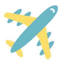 airplane flat icon travel and transport aircraft vector image