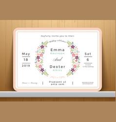 blossom flowers wedding invitation card vector image