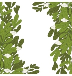 Christmas frame mistletoe with white flowers vector image vector image