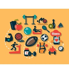 flat fitness icons vector image