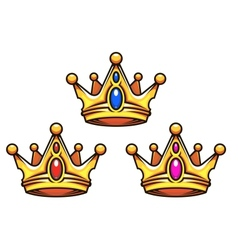 Golden royal crowns with jewelry elements vector image vector image