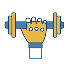 hand with dumbbells icon vector image