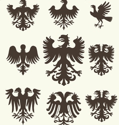 heraldry set and retro background vector image