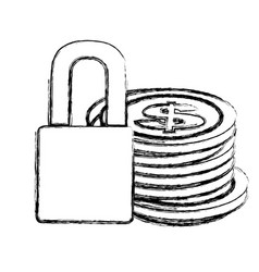 Monochrome sketch of coins stacked and padlock vector