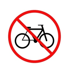 No cycling bicycle forbidden sign on white vector image vector image