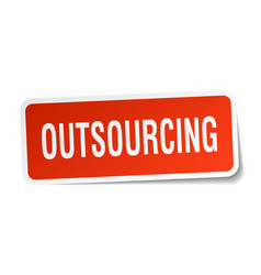 Outsourcing square sticker on white vector