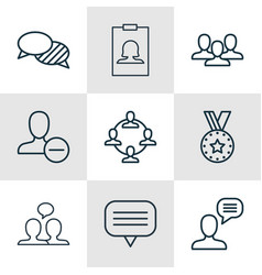 set of 9 communication icons includes badge vector image