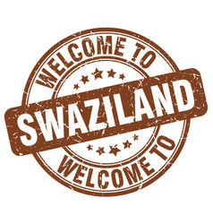 welcome to swaziland brown round vintage stamp vector image