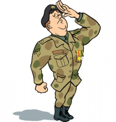 Army soldier saluting vector